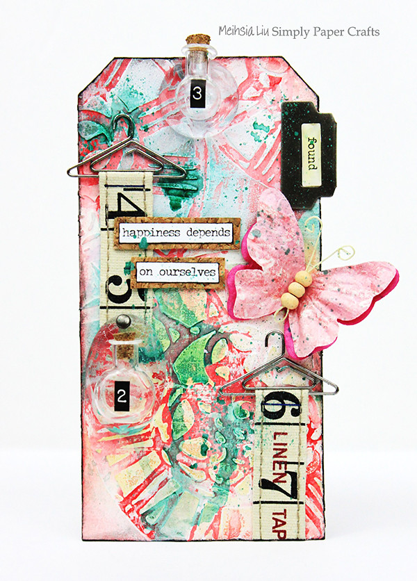 Meihsia Liu Simply Paper Crafts Mixed Media Tag Tiny Bottle Simon Says Stamp Monday Challenge Tim Holtz 600