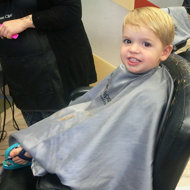 I finally braved the hair salon again (we had a traumatic for mommy experience in March that left me unsure if I'd ever let anyone else touch his hair)... he looks so grown up! (And finally has a decent hair cut!) #mboys2015