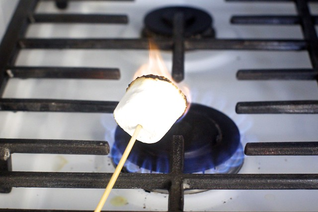 toasting a marshmallow for garnish, gross stove, sorry