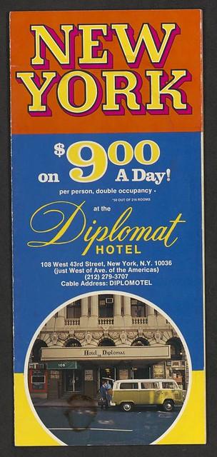 Circa 1970's Hotel Diplomat, NYC, NY (Brochure 001)