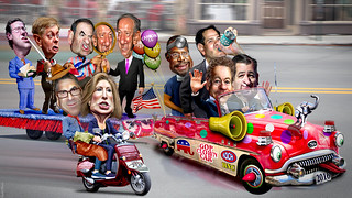 2016 Republican Clown Car Parade - Expanded Cast of Caricatures