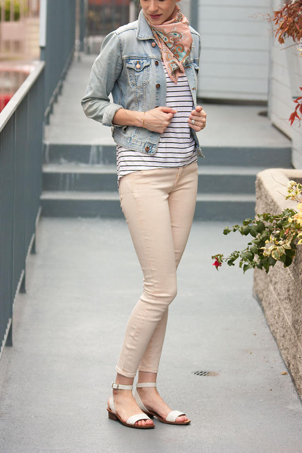 Peach Denim, Striped Tee, Denim Jacket, Madewell Sandals