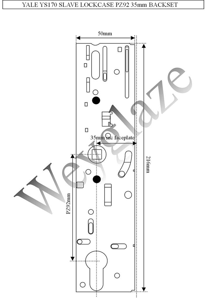 French Door Locking Mechanism : Yale ys slave door lock mm backset pz case