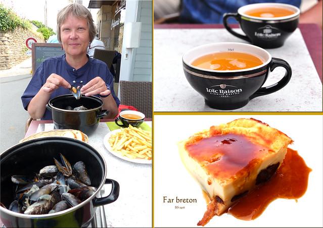 Bretagne - Golfe du Morbihan - Mönchsinsel - Île-aux-Moines - Moules frites - Far breton - Foto und Collagen: Brigitte Stolle 2016