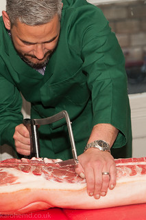 Whole side of pig butchery
