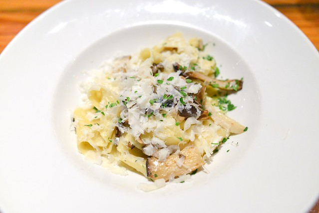 PAPPARDELLE TRIFOLATI: KING TRUMPET MUSHROOMS, GARLIC, SAGE AND PARMIGIANO-REGGIANO