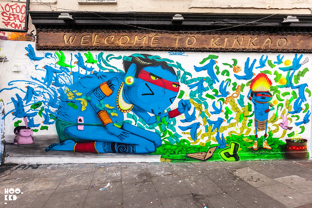 Brazilian street artist Cranio revisit London. Brick Lane Street Art. Photo ©Hookedblog