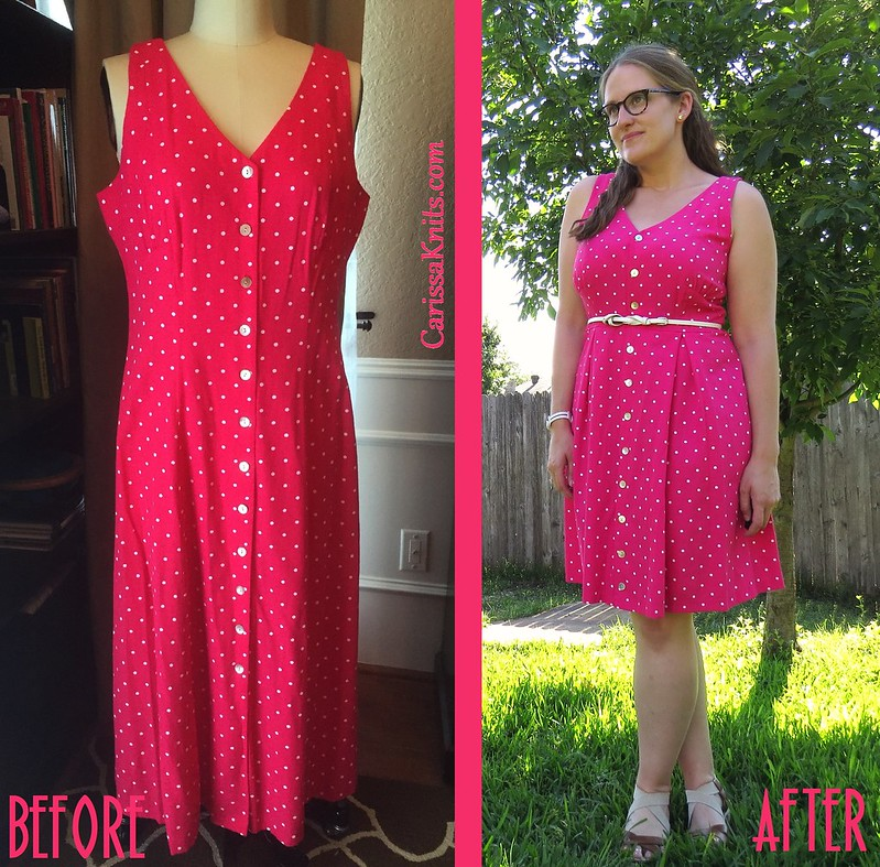 Pink Polka Dot Dress Before & After