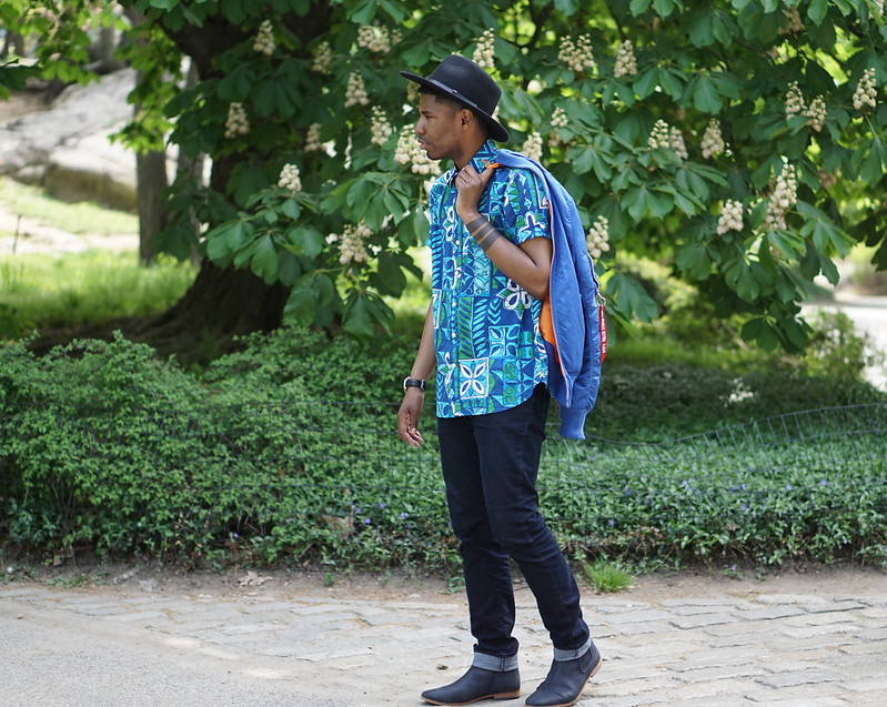 Blue and Green Floral Shirt
