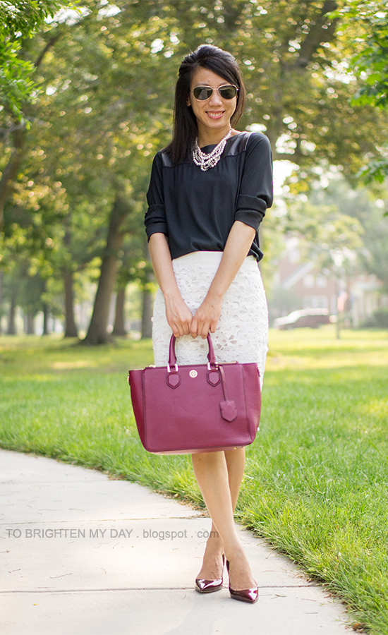 pearl and mixed metal necklace, black faux leather top, floral lace pencil skirt, burgundy patent pumps