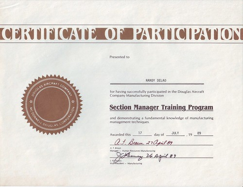 Douglas Aircraft Company Certificate of Participation