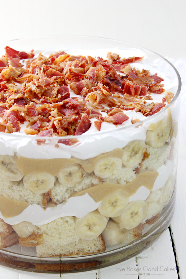 Elvis Trifle with Bacon in a clear bowl close up.