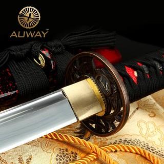 auway-samurai-sword-Orchid-Tsuba-Red-scabbard