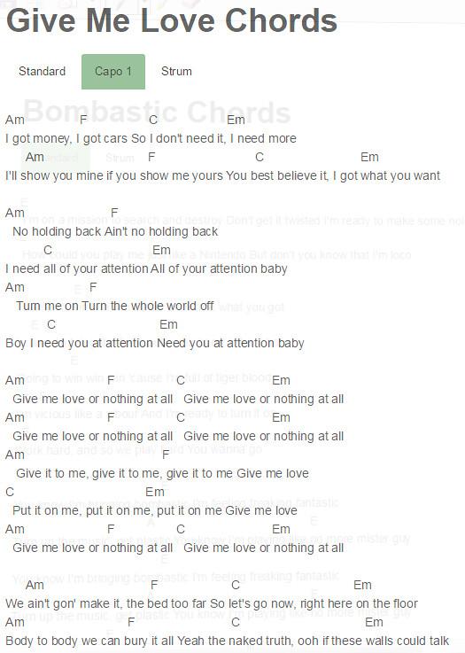 Capo 1 Give Me Love Chords Ciara Give Me Love Chords Ciara Flickr