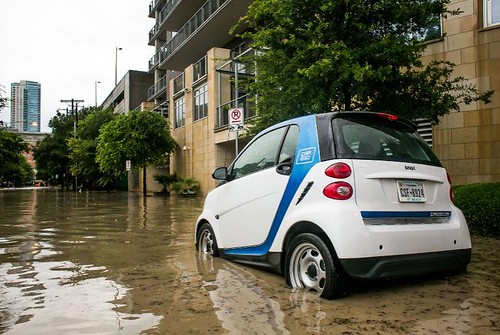 A car2go on a flooded Austin street