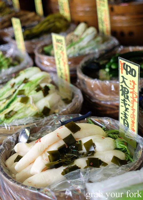 Pickled daikon white radish at Takakuraya at Nishiki Market, Kyoto
