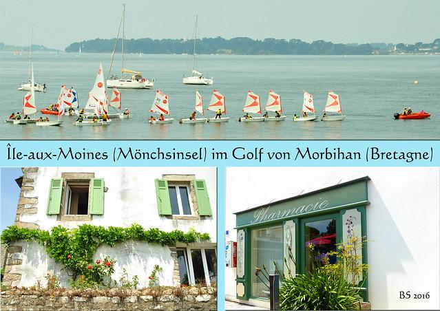 Bretagne - Golf von Morbihan - Mönchsinsel - Insel der Mönche - Île-aux-Moines - Fotos und Collagen: Brigitte Stolle 2016