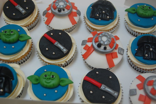Our best selection yet - BB8, Yoda, Darth Vader and Light Sabers! The Ultimate Star Wars Cupcakes - from £2.50 each (minimum order 12).