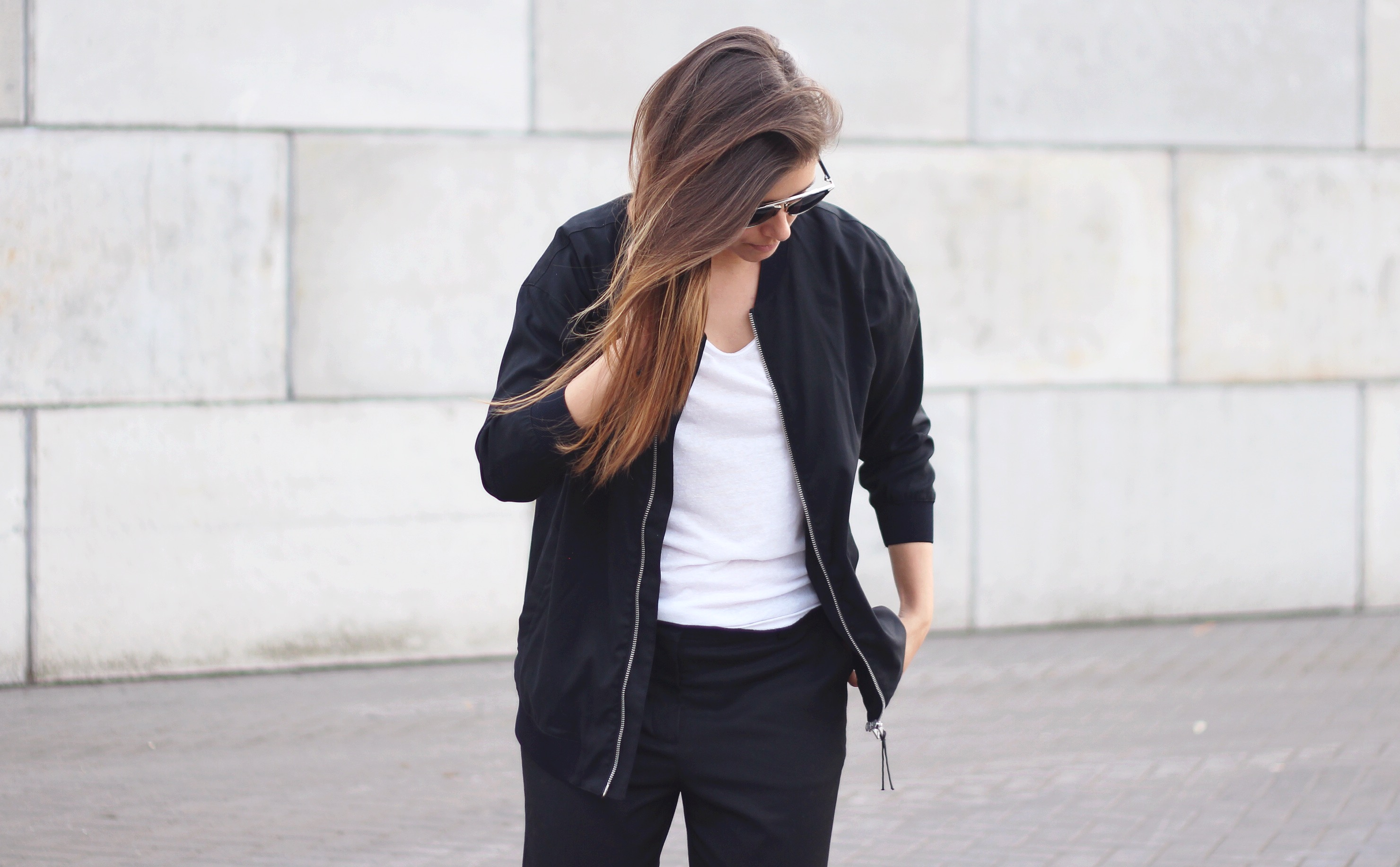 All saints, black, bomber jacket, street style, inspiration
