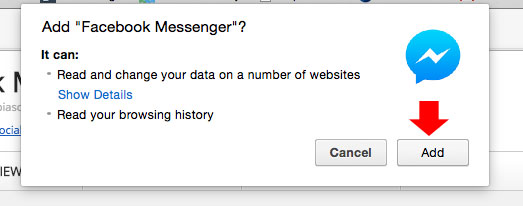 Add FB Messenger to Chrome step 2