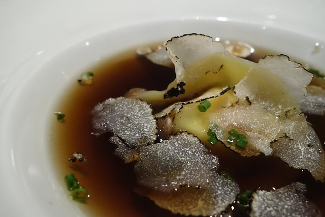 Mushroom Consomme, Chicken Tortellini with Summer Truffle by Chef Sufian Zain, Restaurant Ember