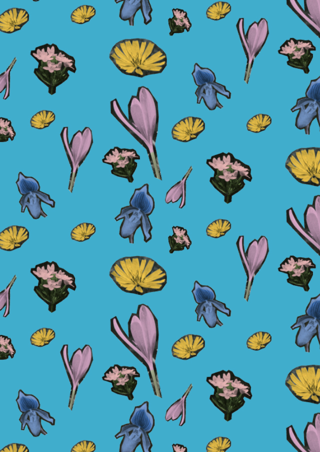 blue floral cutout collage pattern by laura redburn