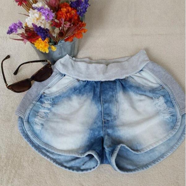 Shorts Femininas Moleton Com Jeans Curto Atacado Fashion ...