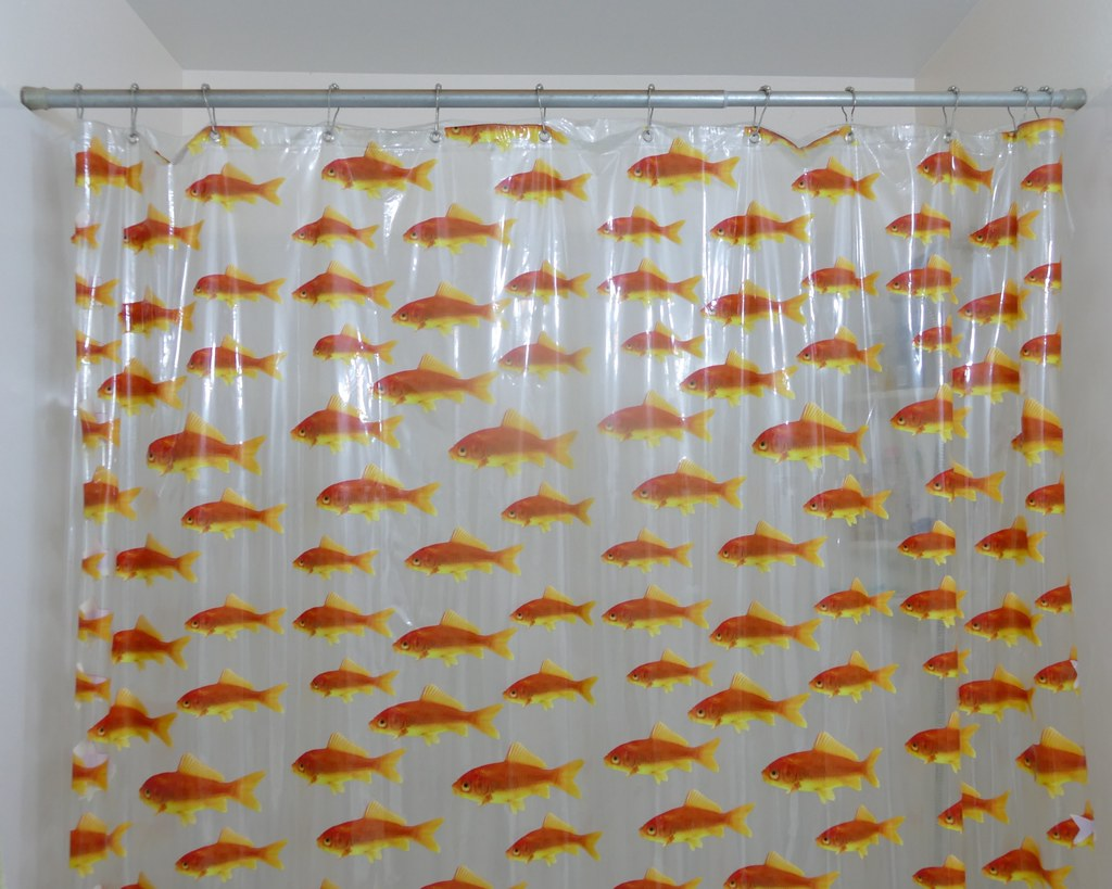 Left Formation Swimming Goldfish Shower Curtain