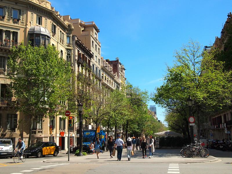 Rambla de Catalunya in Barcelona, Spain