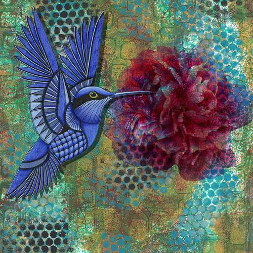 Digital collage with hummingbird