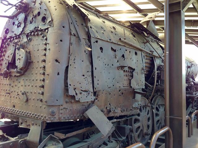 Bullet-hole riddled train