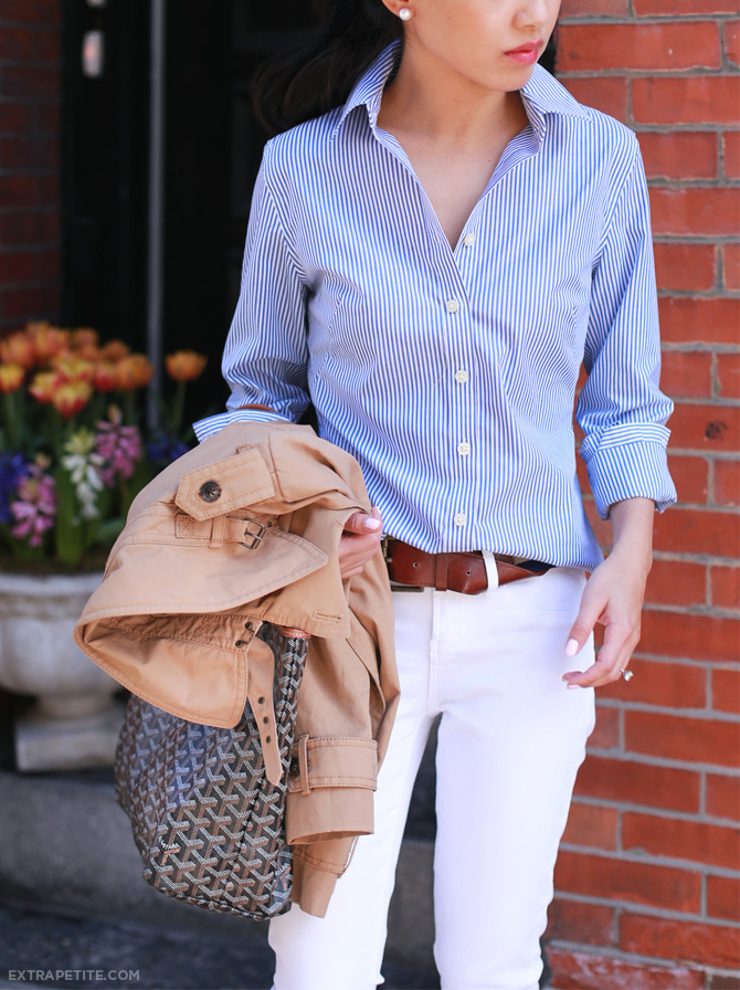 white jeans striped shirt outfit3