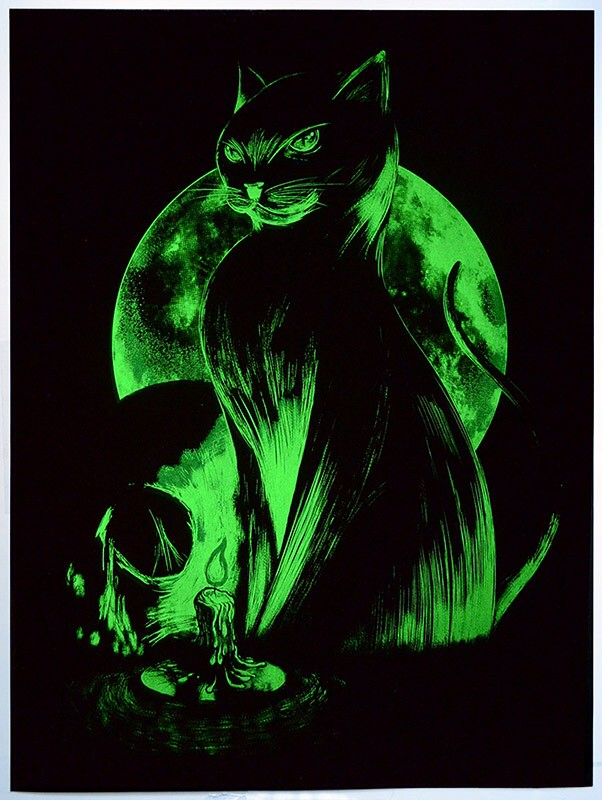 Matt Johnson Clandestine Cat Glow in the Dark Screenprint