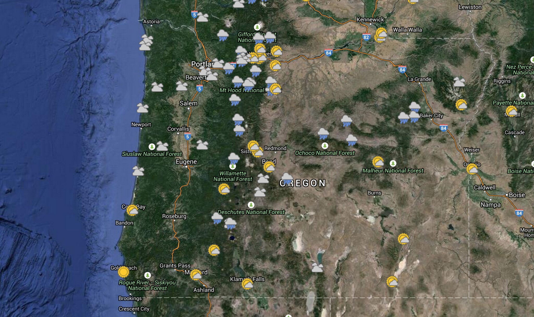 Saturday, May 23 Weather Map: Mostly Rain and Part Sun   Oregon Hikers