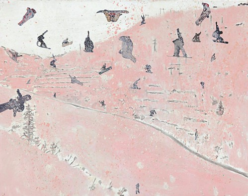 Peter Doig, Untitled, 1997, paint, collage on paper sold for $293,000