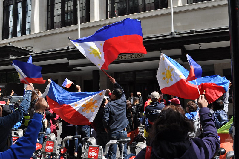 Filipino healthcare workers and supporters protesting against derogatory xenophobic articles published by the Daily mail. Outside the Daily Mail's HQ, Northcliffe House, London.