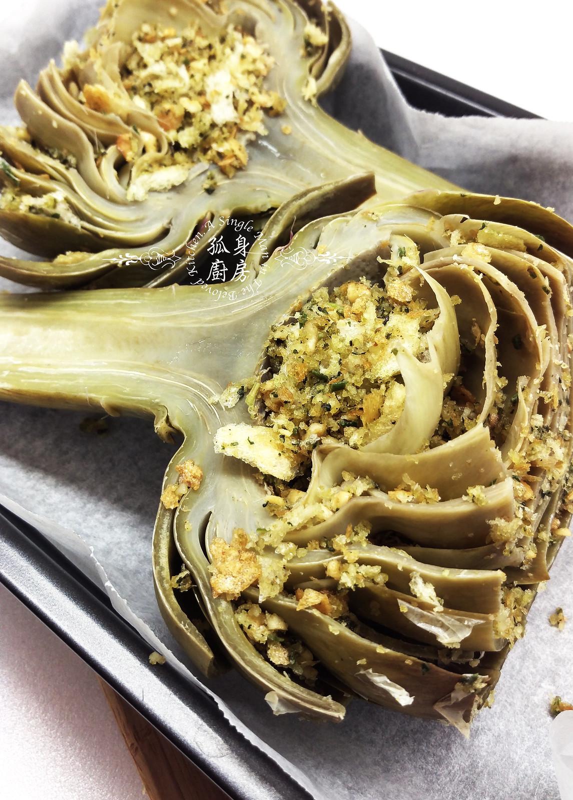 孤身廚房-青醬帕瑪森起司鑲烤朝鮮薊佐簡易油醋蘿蔓沙拉17