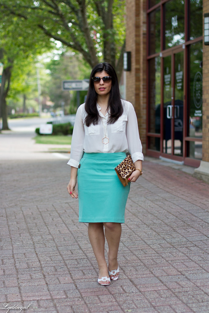 mint green pencil skirt, white blouse, leopard clutch-2.jpg