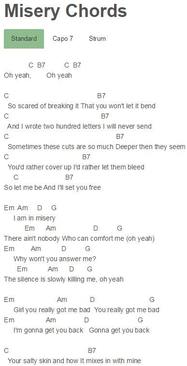 Misery Chords Maroon 5 Chordsmaroon 5 Misery Chords Flickr