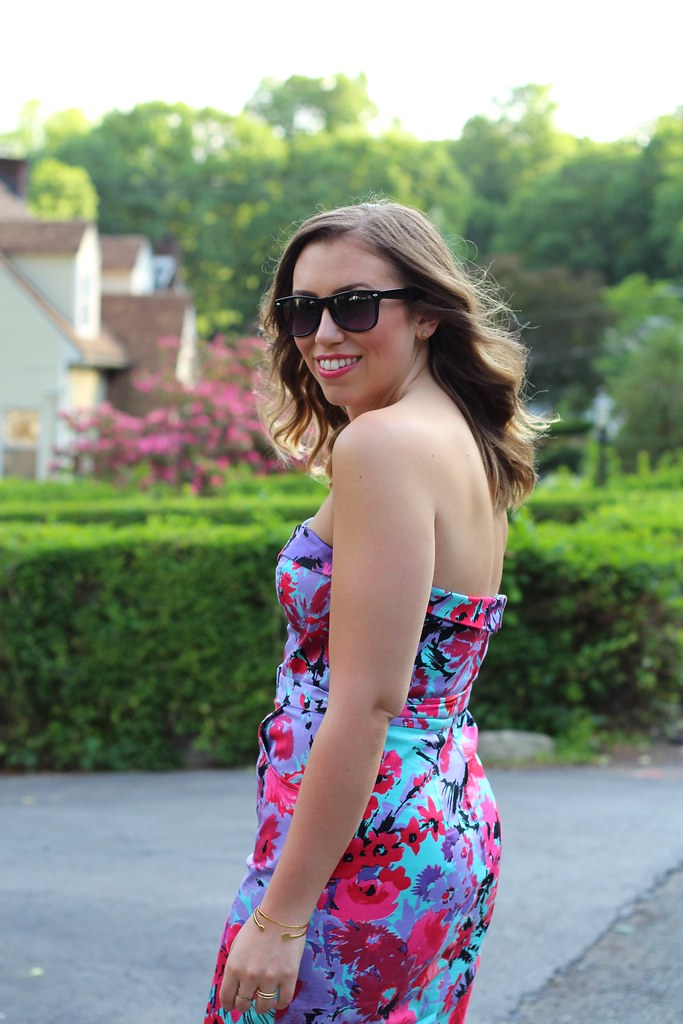 Purple and Pink Floral Body Con Dress
