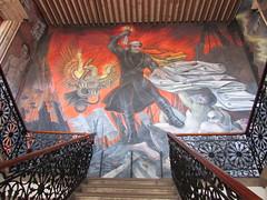 José María Morelos with torch, eagle with snake