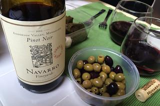 Navarro Vineyard Pinot Noir - Deep End Blend pairing olives