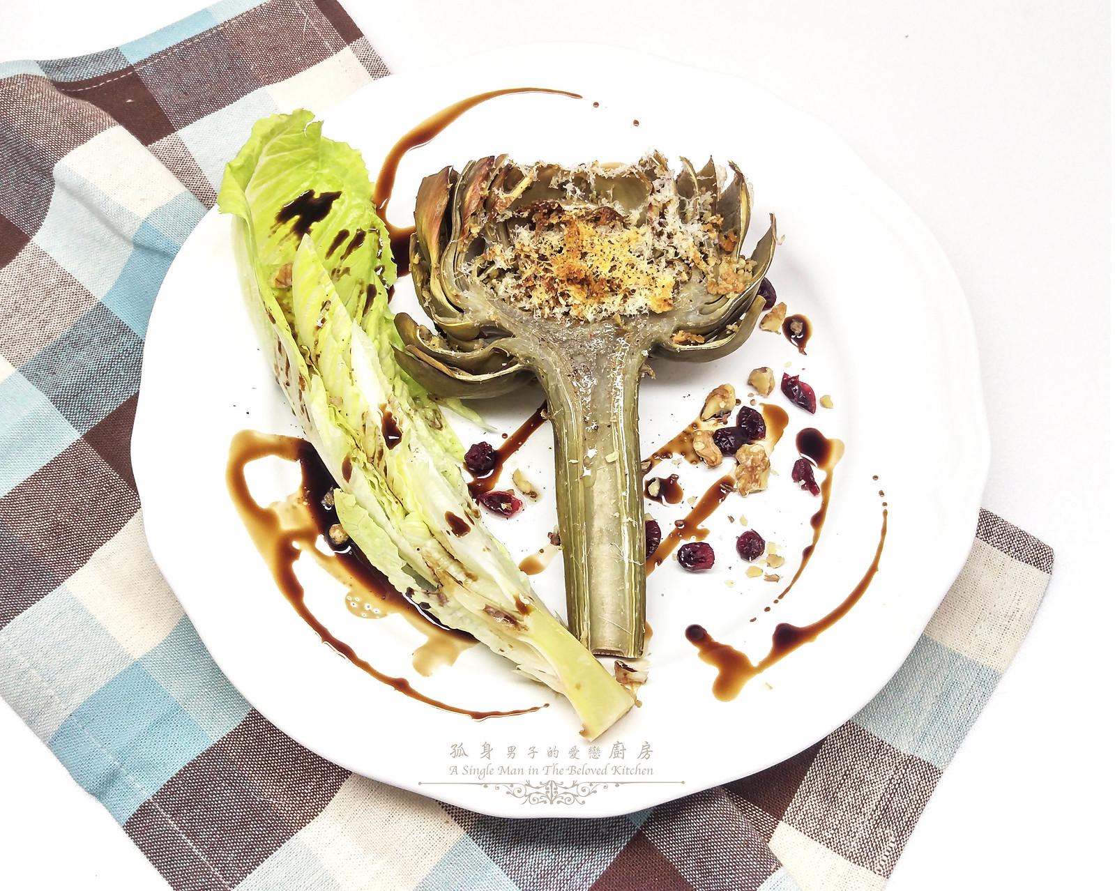 孤身廚房-青醬帕瑪森起司鑲烤朝鮮薊佐簡易油醋蘿蔓沙拉25