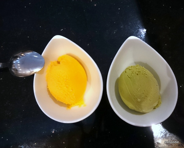 Mango and green tea ice cream