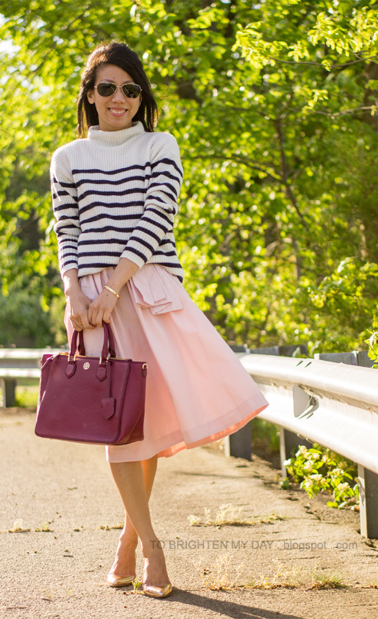 striped sweater, pink full skirt, red purple tote, rose metallic wedges