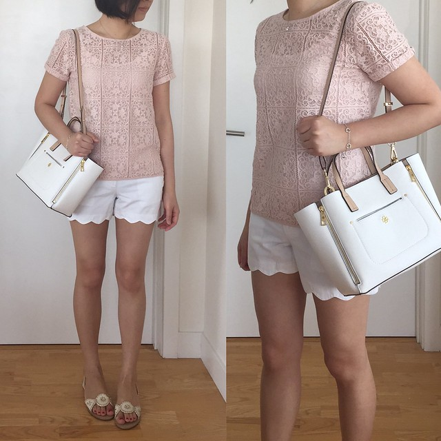 Ann Taylor Mini Pebbled Signature tote, Graphic Lace Tee, LOFT Scallop Riviera Shorts