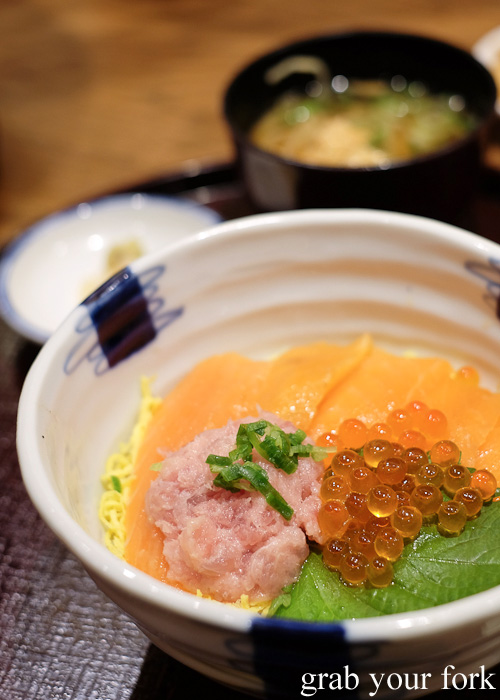 Kaisendon with salmon, salmon roe and tuna belly at Menya Kanjin-do at Porta Shopping Mall, Kyoto station