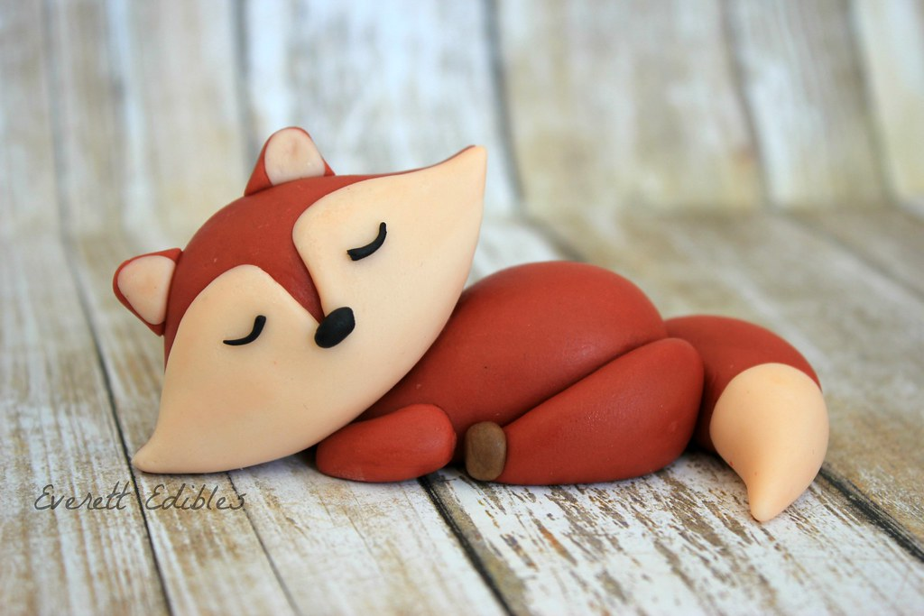 Fox Woodland Animal Fondant Cake Topper Fondant Fox Little