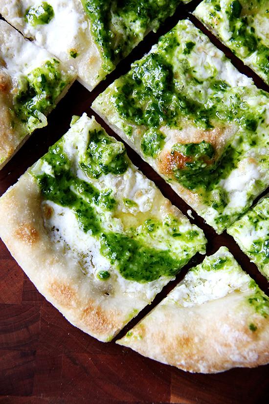 ramp green pesto and burrata pizza