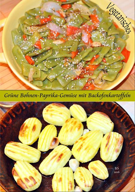 Vegetarisch-veganes Abendessen: Grüne-Bohnen-Paprika-Gemüse mit Backofenkartoffeln. Gerösteter Sesam schmeckt toll dazu. - Foto: Brigitte Stolle 2016